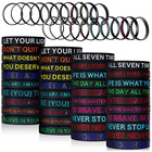 Silicone Rubber Bracelets Siliconesilicone Motivational Bracelets Motivational Silicone Wristbands Multicolored Rubber Bracelets Stretch Bracelets With Inspirational Messages