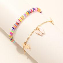 2 шт./компл., новинка, ручной работы, полимерная глина, ножной браслет для женщин, бохо, цветная цепочка, Бабочка, очаровательный браслет, Femme ...(Китай)