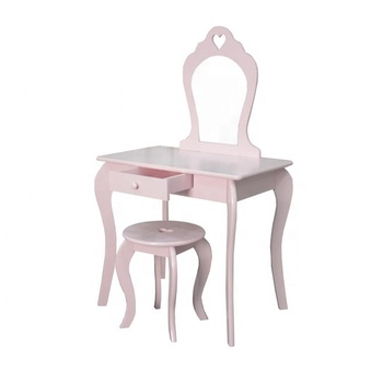 Bedroom Furniture Modern Design Kids Pink Wooden Dressing Table