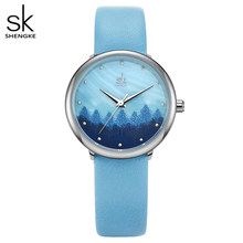 Shengke роскошные женские часы-браслет из розового золота, женские креативные кварцевые часы Montre Femme, 2019 SK, женские наручные часы # K0062(Китай)