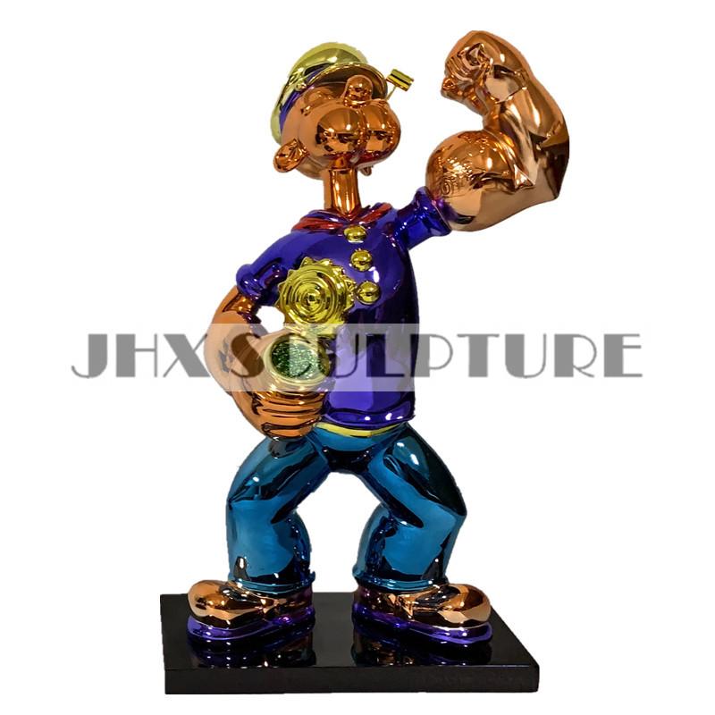 Готов к отправке, милая мультяшная фигурка из стекловолокна, хромированная статуя Джеффа коона, Popeye