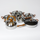 Cookware Mahogany Handle 12 Pieces Cooking Pot Set Multi-function Stainless Steel Cookware