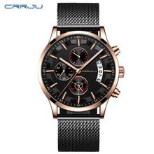 CRRJU мужские часы, мужские брендовые роскошные часы из нержавеющей стали, кварцевые синие часы, мужские повседневные спортивные наручные час...(Китай)
