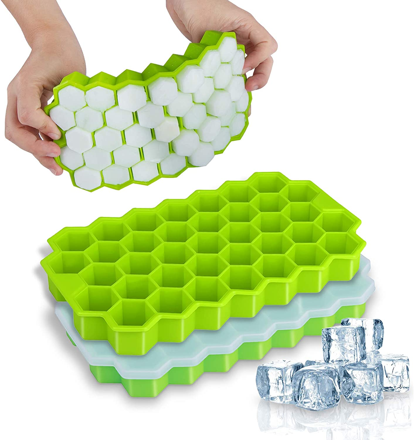 2021 Amazon Hot Sale 37 Grids Honeycomb Silicone Ice Cream Mold Tray with Silicone Lids for Cocktail, Freezer