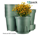 YiCai Many Size Green Gallon Plastic Garden Flower Pots With Drainage Seeding Plant Container Nursery Pot With Saucers