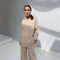 2021 Autumn Winter Knit Sweater Knitwear Two Piece Pants Set Wide-Leg Knitted Women Hooded Sweater Suits Set