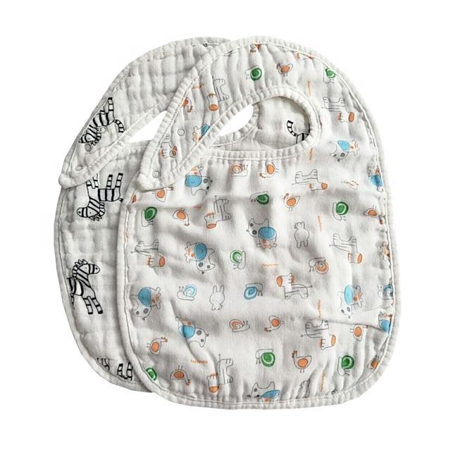 Custom muslin Organic Cotton Super Soft High Absorption Baby Bibs
