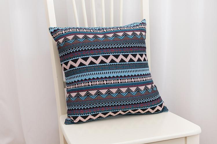 Bohemia colored geometric stripes chenille jacquard cushion for sofa
