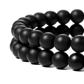 Wholesale Natural Round Loose Stone Beads Black Matte Onyx For Diy Making Jewelry Bracelet 4mm 6mm 8mm 10mm