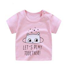 Летняя футболка для маленьких мальчиков и девочек; Одежда для малышей с вышивкой; Милая одежда; Рубашки; Модная хлопковая Футболка с рисунко...(Китай)