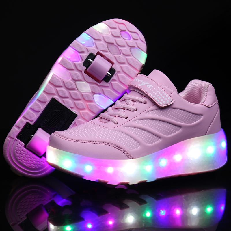 Two Wheels Luminous Sneakers Blue Pink Led Light Roller Skate Shoes for Children Kids Led Shoes Boys Girls Shoes Light Up