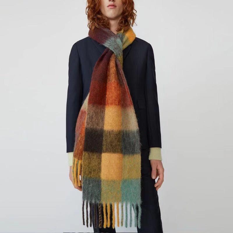 Длинный Модный женский шарф с кисточками, клетчатый женский дизайнерский зимний шарф, шали для женщин стильные