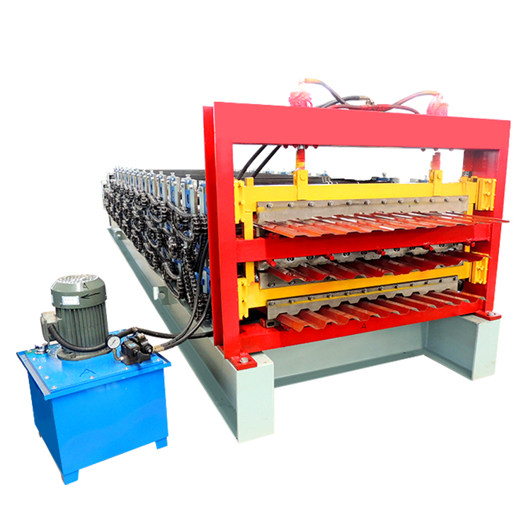 Factory prices steel roof tile corrugated trapezoidal three layer roll forming making machine