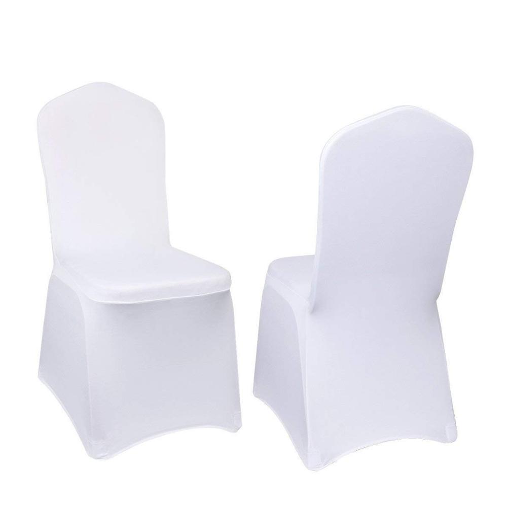 Оптовая продажа, Белый Универсальный Эластичный чехол на стул из полиэстера для свадьбы, вечеринки, церкви