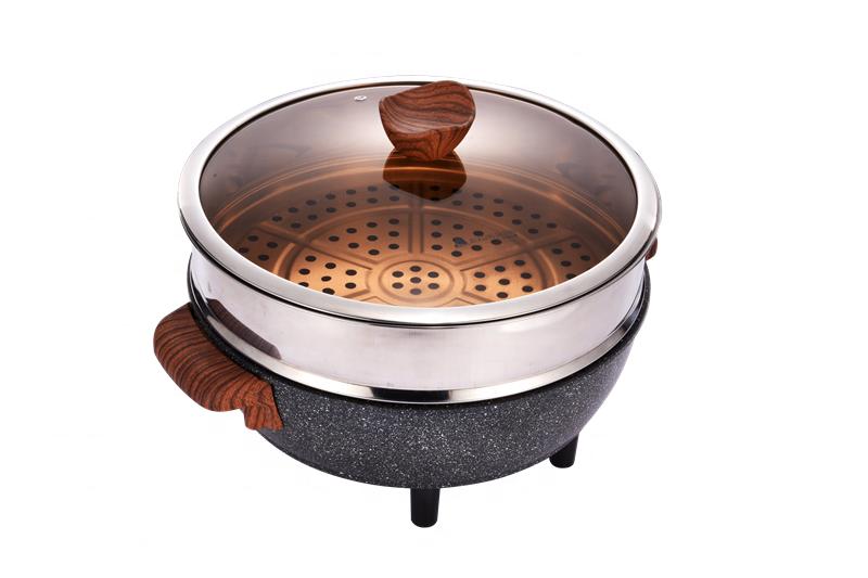 Круглая электрическая сковорода 32 см, черная каменная антипригарная электрическая сковорода