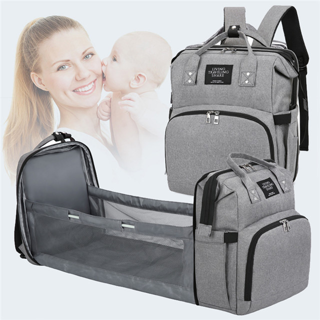 Waterproof Travel Backpack Foldable Baby Bed Mommy Nappy Diaper Bag with Bed