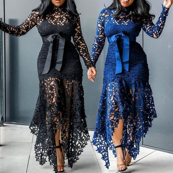2020 Hollow Mesh Sexy Lace Long Sleeve Maxi Dresses Women Plus Size Dress