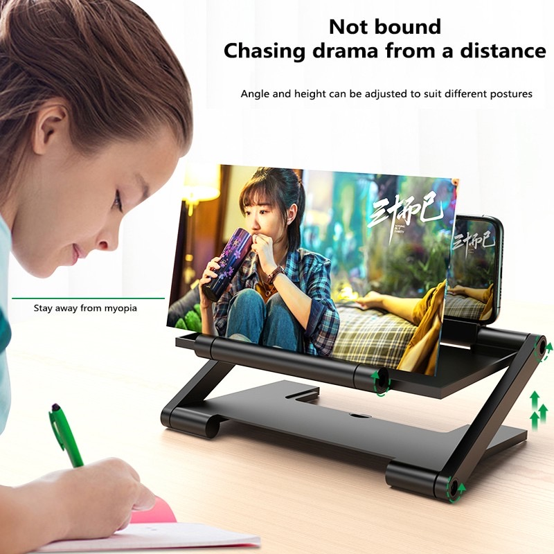 Height Adjustable Cell Phone Movie Video Enlarged Screen Magnifier Amplifier 3D Mobile Phone Screen Amplifier