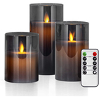 Flameless LED Candles Flickering with Timer Remote, Grey Glass Battery Operated Electric Candles, Real Wax Pillar Candles
