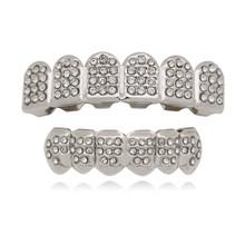 Хип-хоп золотые зубные грили, верхнее дно со льдом, блестящие зубные колпачки для рта, вечерние вампирский зуб, украшения в подарок(Китай)