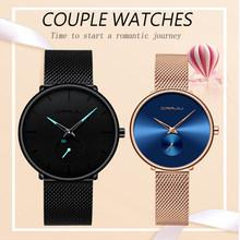 Парные часы CRRJU Лидирующий бренд, кварцевые наручные часы из нержавеющей стали для мужчин и женщин, модные повседневные часы, подарочный наб...(Китай)