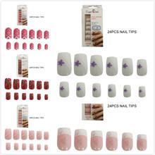 24 шт кончики для ногтей цветок розовое сердце мода полное покрытие поддельные украшения для ногтей молодой дизайн Искусственные ногти(Китай)