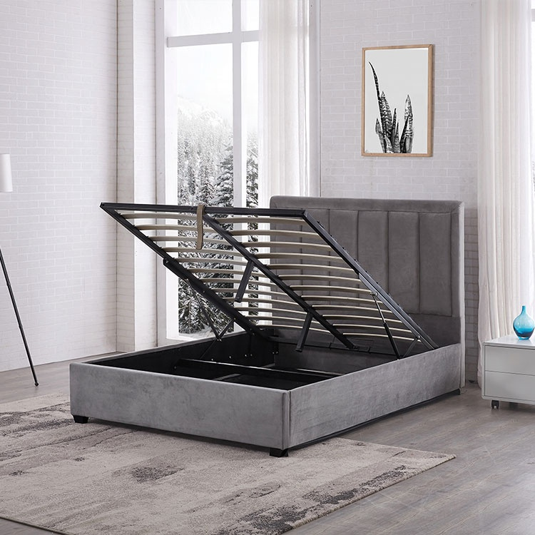 Wholesale hot sale modern luxury simple queen size storage bed