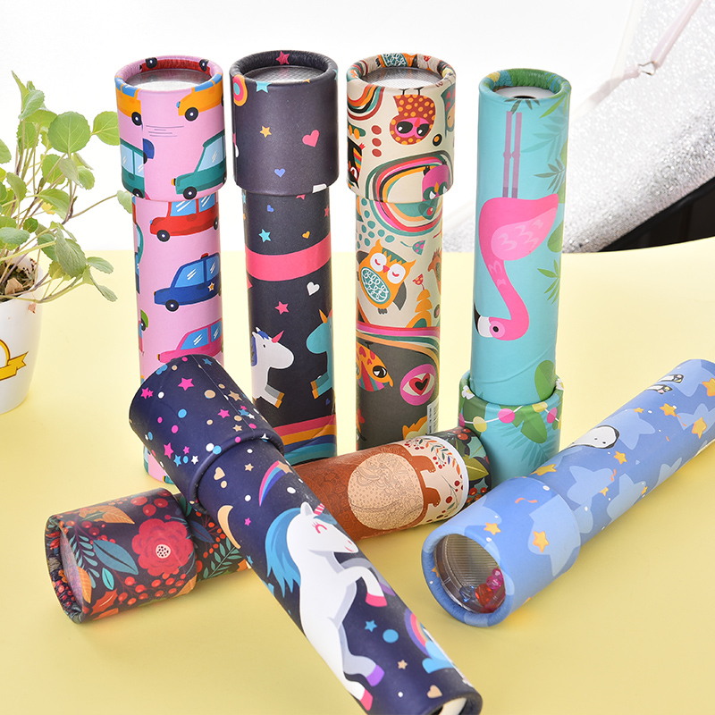 2020 custom magic prism funny children spin paper cartoon kaleidoscope children toy kaleidoscope