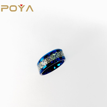 POYA 8mm Blue Tungsten Carbide Ring Based Celtic Dragon Inlay Beveled Edges Comfort Fit