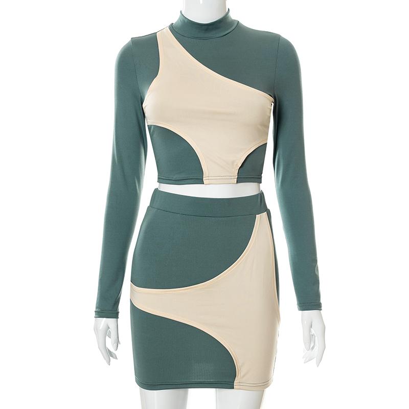 Bomblook K21ST536 Elegant Long Sleeve High-necked Crop Top Low Waist Skirt Contrast Color Two Piece Set Women Casual