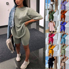 Women Clothes HM-20 2021 New Arrival Casual Suit 2 Piece Set Women Clothes Casual Outfits Lounge Wear 2 Piece Short Set