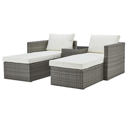 Плетеный ротанговый уличный угловой диван для патио, садовая мебель