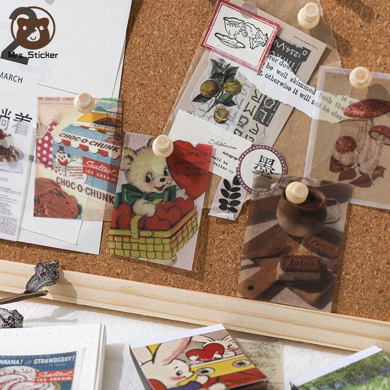 100pcs Small Book Vintage Cartoon Cute Material Paper Ephemera Pack DIY Decorative Scrapbook Base Paper Retro Planner Handmade