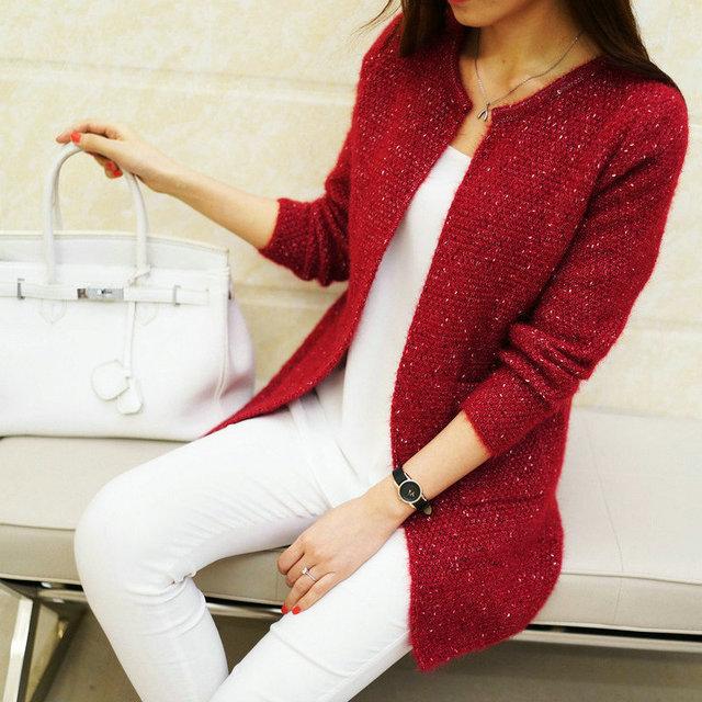 Длинный кардиган, Женский весенне-осенний Вязаный Кардиган с длинным рукавом, женский свитер, женская вязаная куртка, топы
