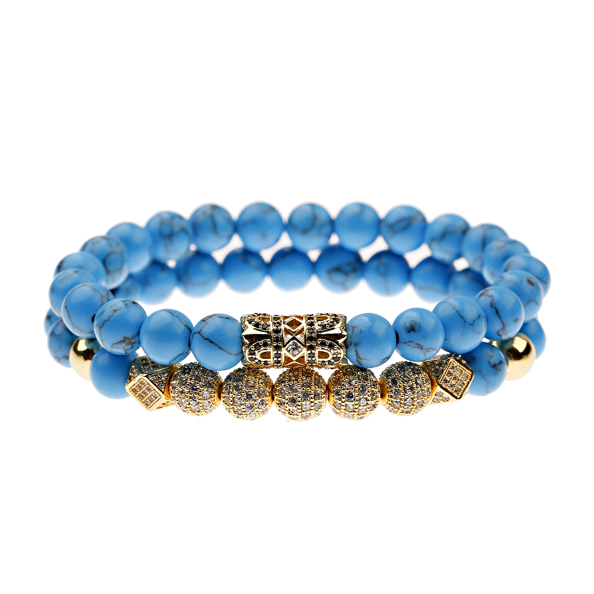 Couples Unisex Beaded Bracelet Rose Gold and Natural Turquoise