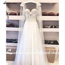 Скромные пляжные свадебные платья больших размеров 2020 трапециевидные винтажные Свадебные платья из тюля с жемчужинами в богемном стиле вы...(Китай)