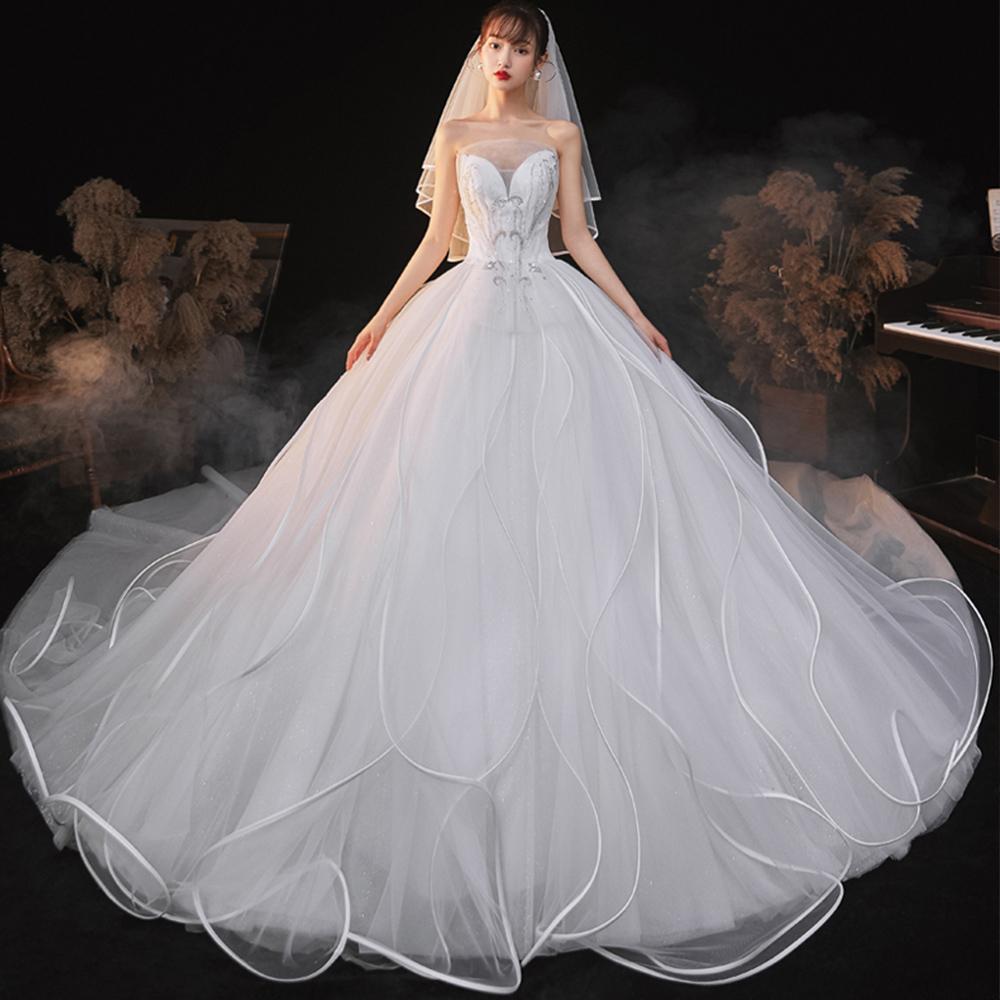 Блестящее Белое Бальное Платье принцессы без бретелек с вырезом на шнуровке сзади, украшенное кристаллами, свадебные платья больших размеров, Китайский магазин онлайн
