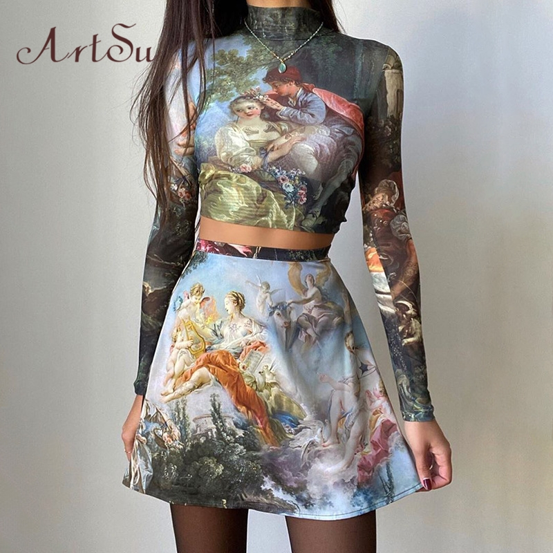 ArtSu/винтажное платье с принтом Феи; комплект из двух предметов; Вечерние наряды с высоким воротом и длинным рукавом; укороченный Топ Harajuku; ми...(Китай)