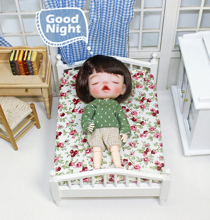 Миниатюрная игрушка на заказ, модель кукольного домика, спальни, постельное белье, украшение, Настольная мини-кровать для кукольного домика