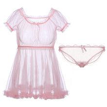 Симпатичная ночная рубашка принцессы Lolita Kawaii, кружевное шифоновое платье, прозрачное Милое сексуальное Белье для сна, черно-белое(Китай)