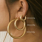 Earrings Hoops Punk Style Jewelry Gold Brass Chunk Earrings Metallic Simple Sense Small Big Hoops Chunk Earrings Women