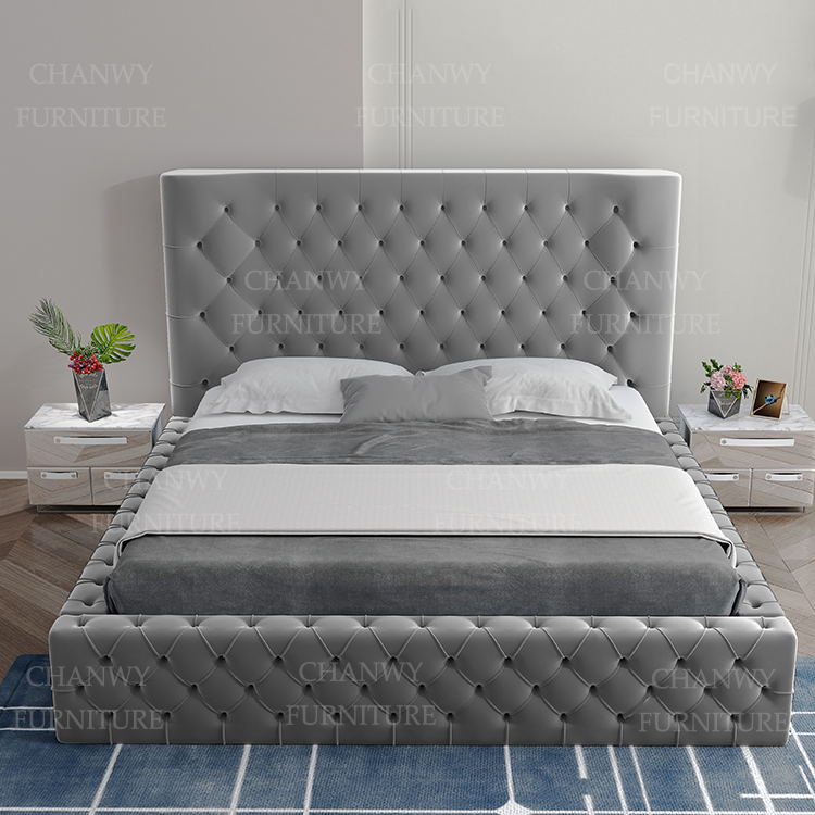 new style design buttons bed with high headboard for room furniture