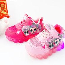LOL Surprise Dolls/женская спортивная обувь для девочек; милый светодиодный мигающий свет; мультяшная кукла-сюрприз; нескользящая детская обувь; по...(Китай)