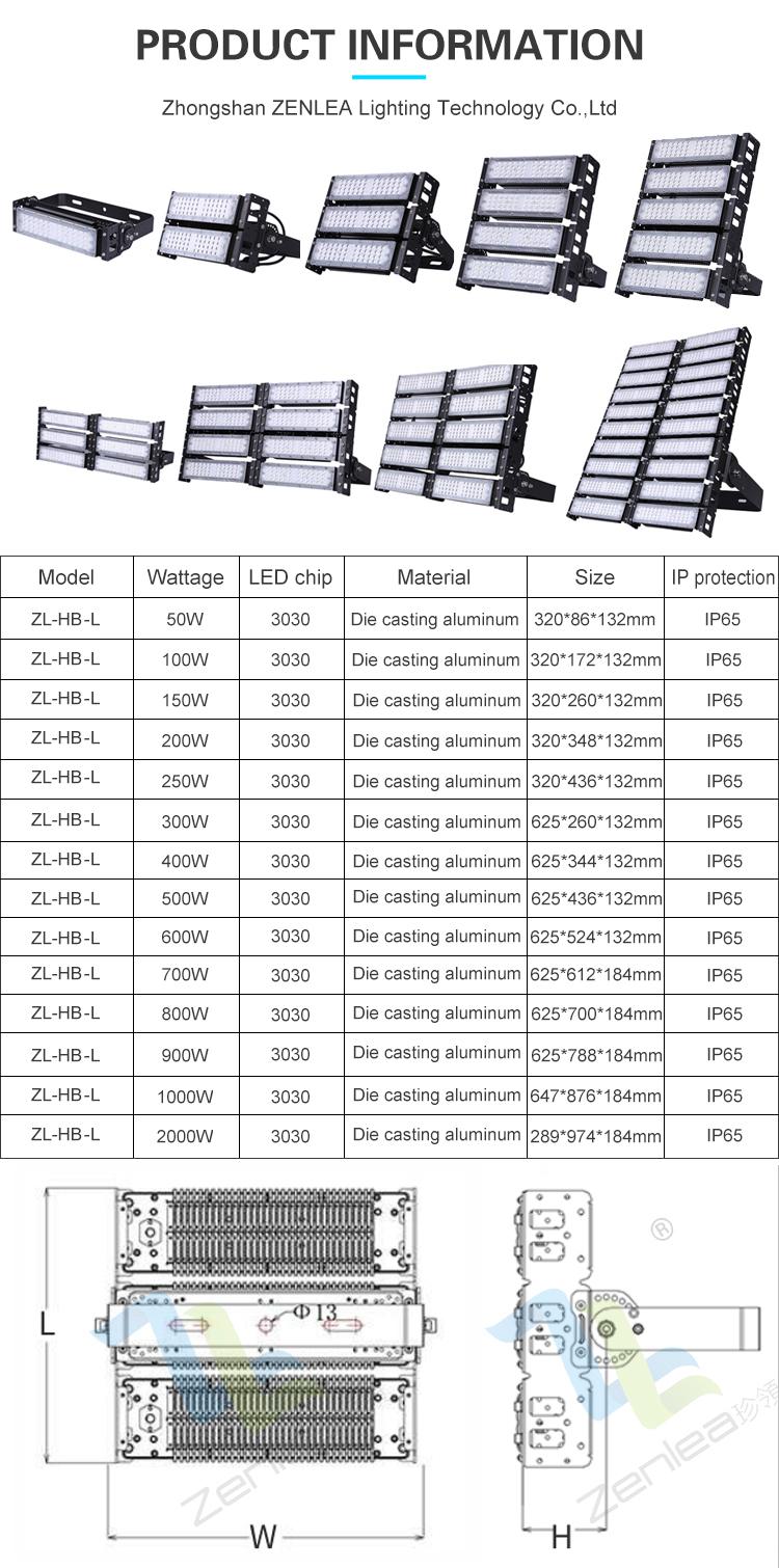 High power ip65 waterproof 50w 100w 120w 150w 200w 250w 300w outdoor led high mast flood light