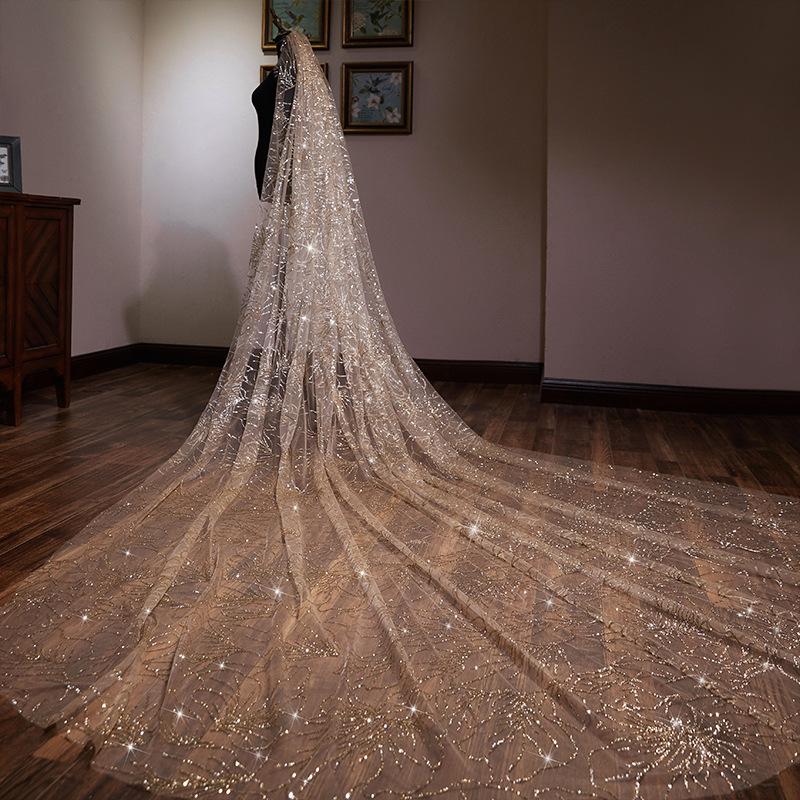hot sale long veil bridal of high quality 4 m accessories trim shimmer bridal veil 4 meter bridal new design fashion bridal gown