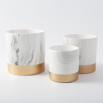 hotel desktop decorative cheap marble nordic cylinder ceramic plant pots for wedding