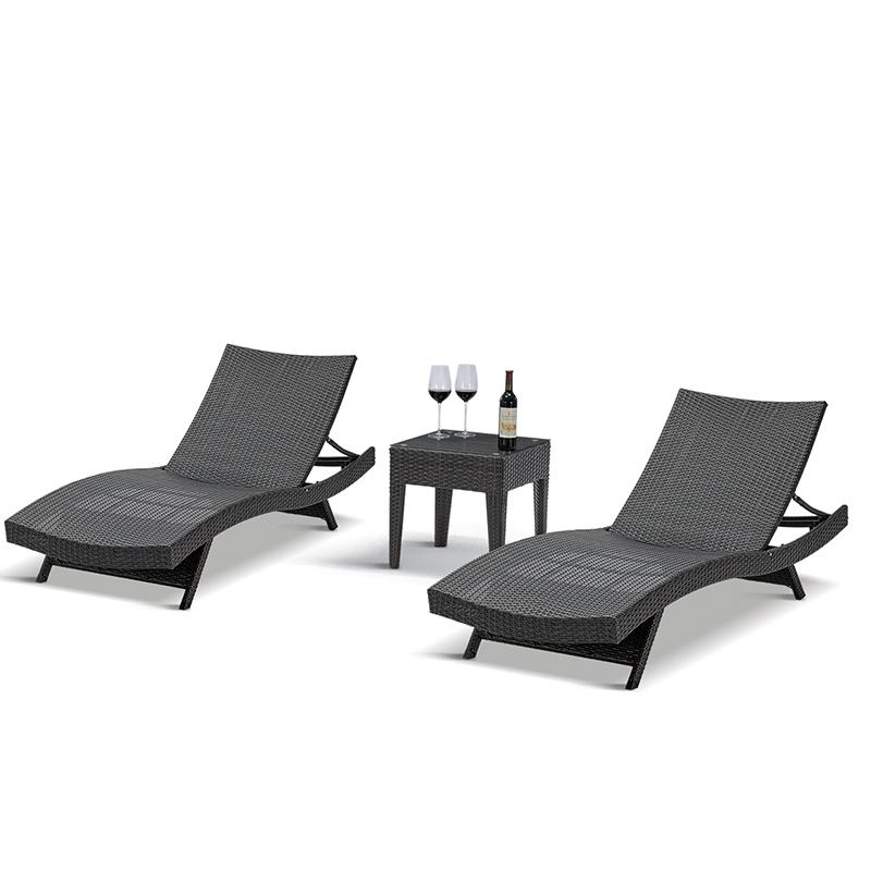 Лучшая современная плетеная черная серая уличная шезлонг, шезлонг из ротанга для бассейна, сада, наклонный шезлонг для продажи