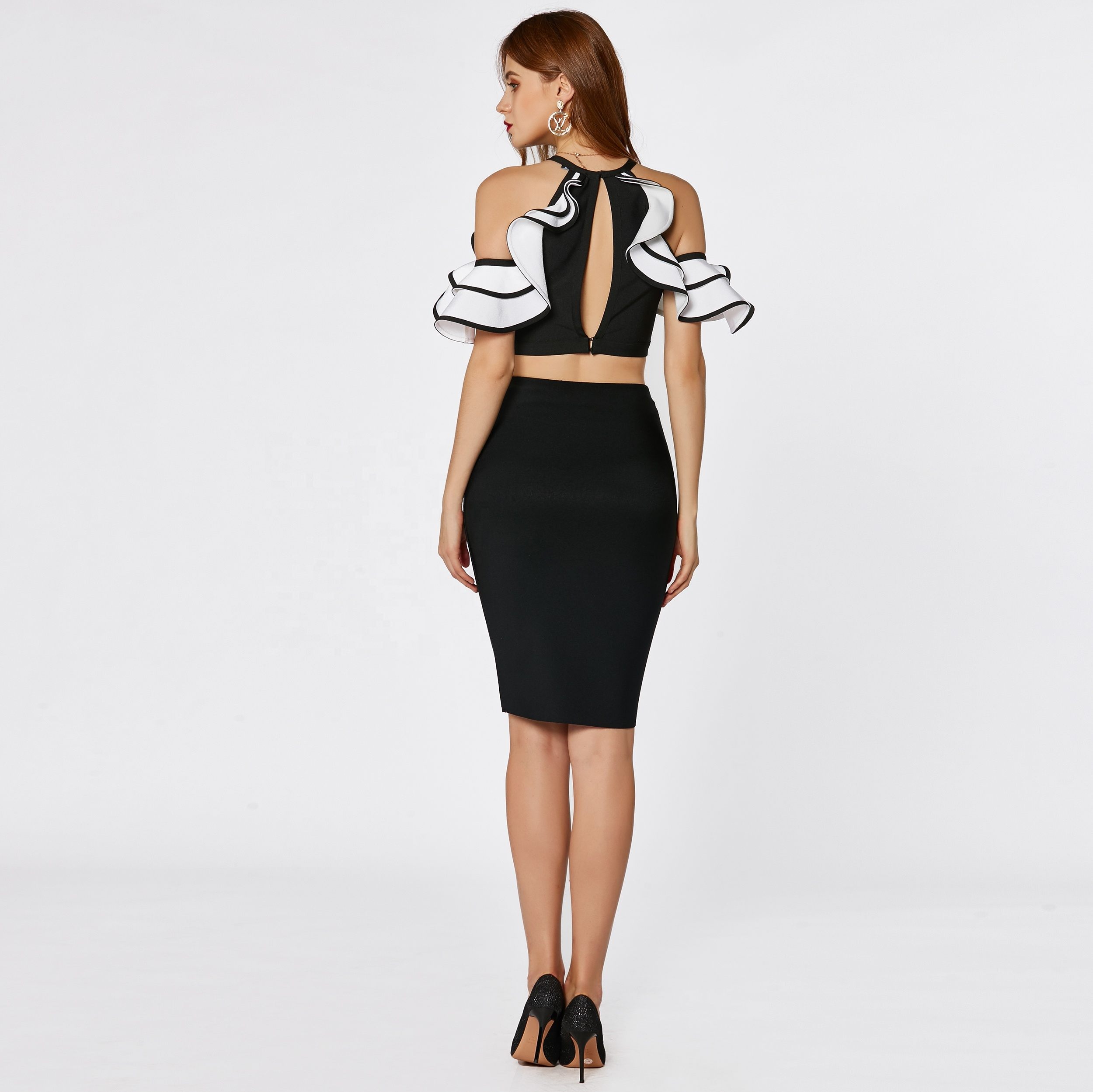 Factory fashion two piece black and white ruffle off shoulder mini sexy women bandage bodycon dress for night club party