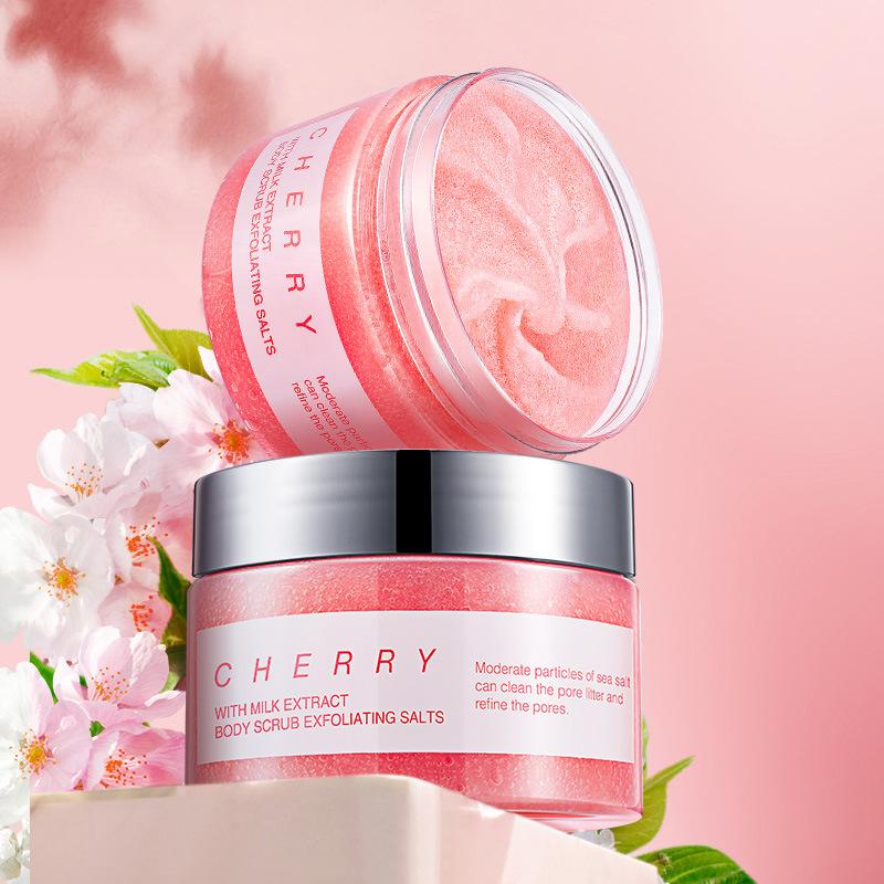 Private Label Custom Skin Whitening Scrub Body Exfoliating Soften Moisturizing Milk Cherry Dead Sea Salt Scrub
