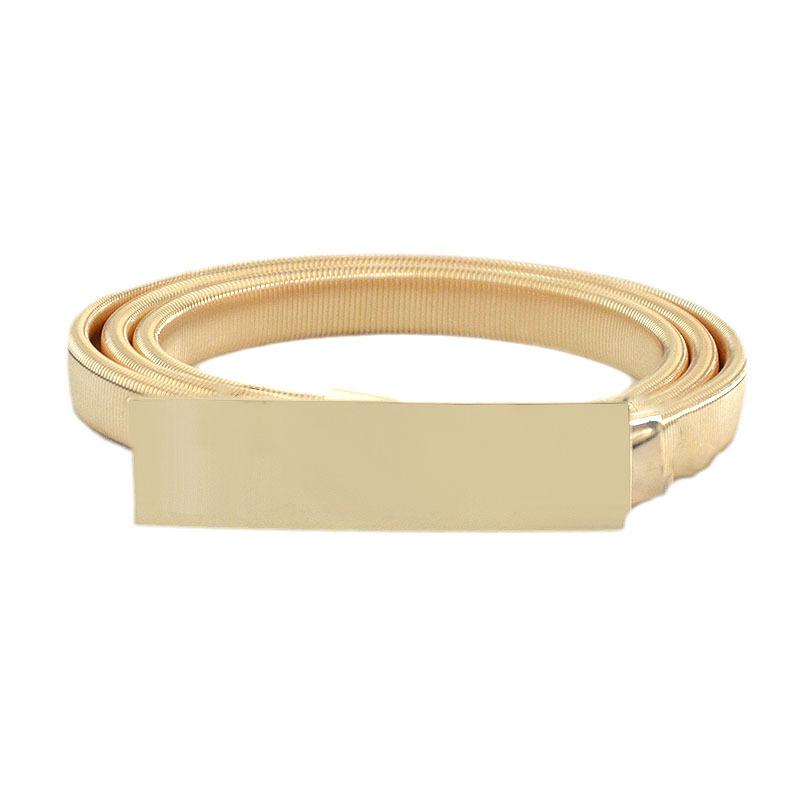 Металлическая Весенняя поясная цепочка для женщин, универсальная легкая квадратная пряжка, эластичный пояс с цепочкой